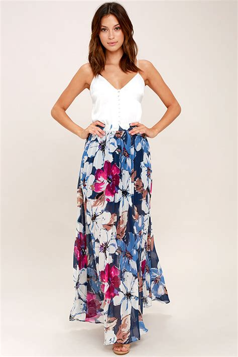 lovely floral print skirt navy blue floral print maxi