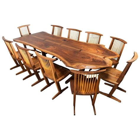 Table And 10 Chairs george nakashima conoid dining table and ten conoid chairs