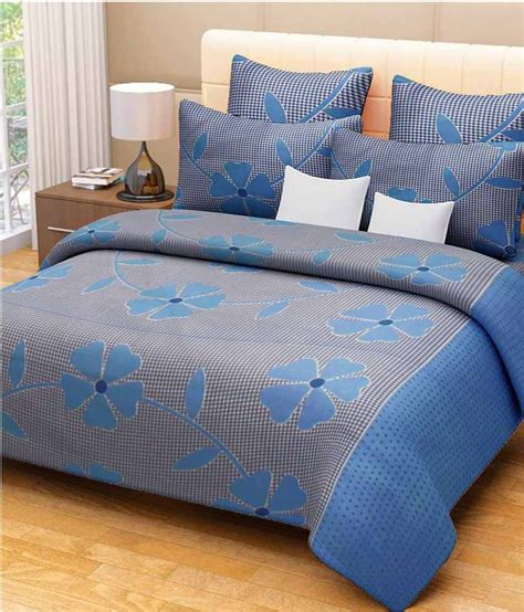 double bed sheets spring blue cotton double bedsheet with 2 pillow cover