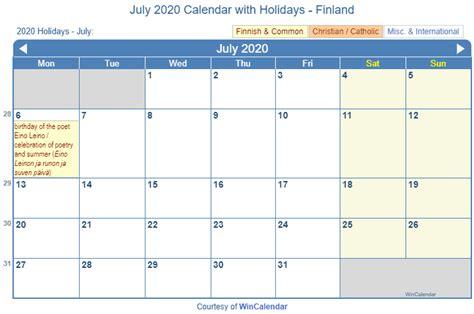 print friendly july  finland calendar  printing
