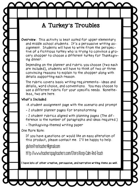 Thanksgiving Worksheets For Fifth Grade Free