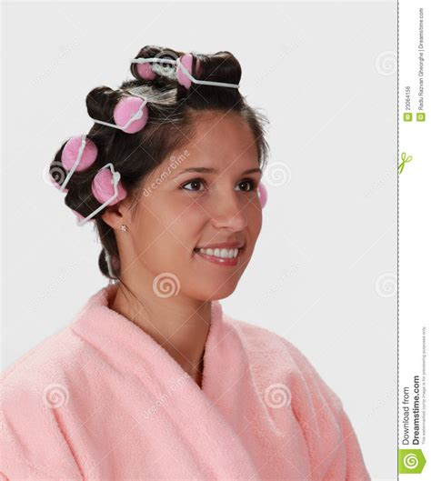 women in hair rollers woman with hair curlers stock photo image of brunette