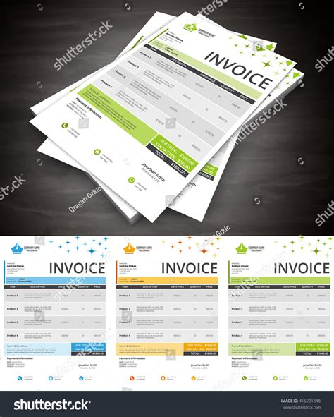 illustration invoice template vector illustration creative invoice template stock vector