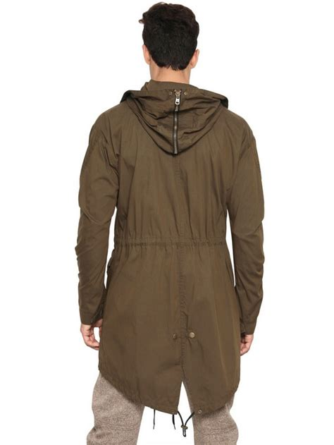 Jacket Parka Bahan Canvas lyst mcq cotton canvas parka jacket in green for