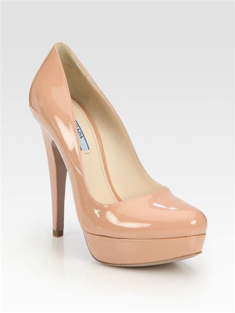 Prada Olympia Heels 9948 prada patent leather platform pumps in beige lyst