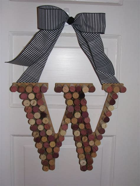 Monogrammed Wreath With Wine Corks 17 Best Images About A Door Wreaths Initials On Initials Overlays And Felt Flowers