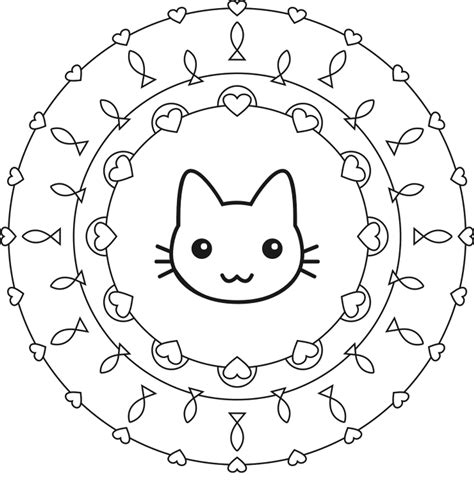 easy coloring pages of cats cat mandala coloring pages art pinterest mandala