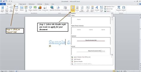 word document header templates