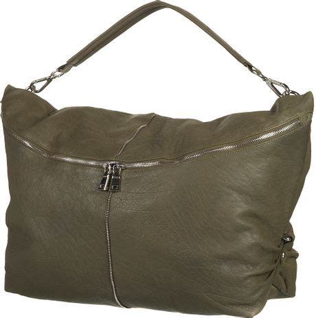 Leather Slouchy Satchel From Topshop by Topshop Leather Zip Slouch Bag In Khaki Lyst