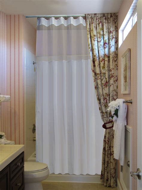 how long is a shower curtain rod long shower curtain spaces mediterranean with ceiling