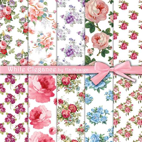 Floral Decoupage Paper - white elegance digital collage sheet digital paper