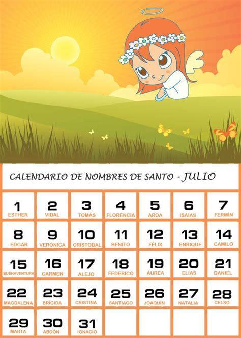 Calendario Mexicano Con Santos Calendario De Los Nombres De Santos De Julio
