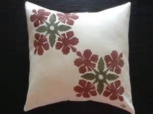 hawaiian quilt stencil canvas pillow cover 14x14 13x13