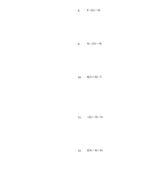 Distributing And Combining Like Terms Worksheet