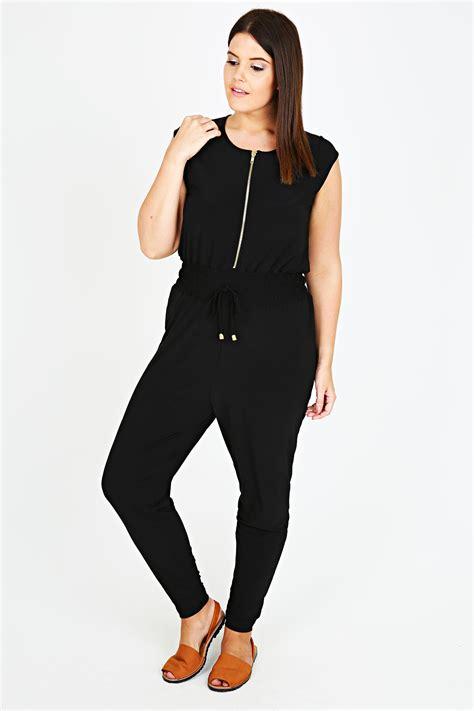 Juimsuit Strech Import Premium black stretch jersey utility jumpsuit with gold zip detail plus size 14 16 18 20 22 24 26 28 30 32