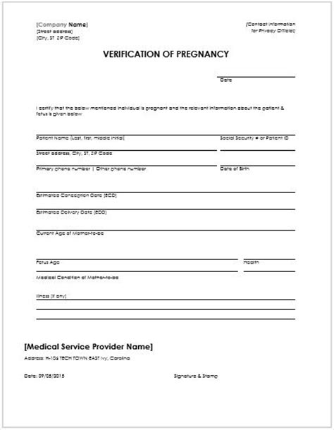pregnancy confirmation letter ms word word excel