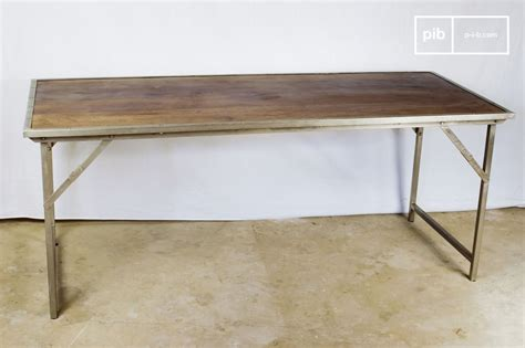oak and steel folding table desk or dining table pib