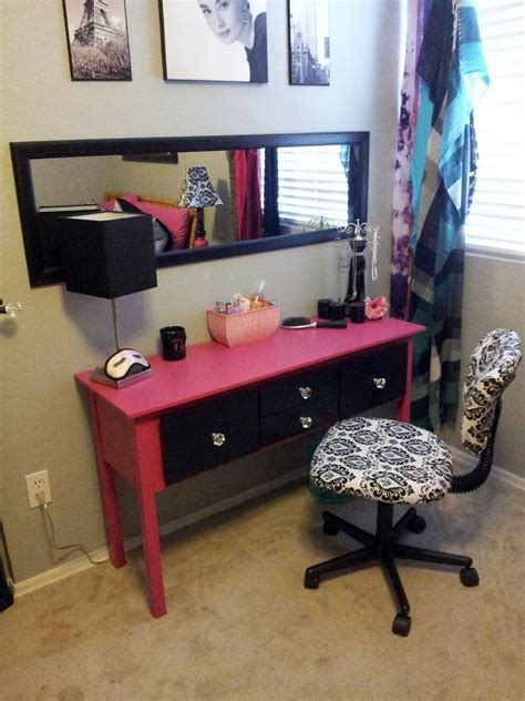 Handmade Vanity Table - painted pink and black diy vanity table with 4 drawers