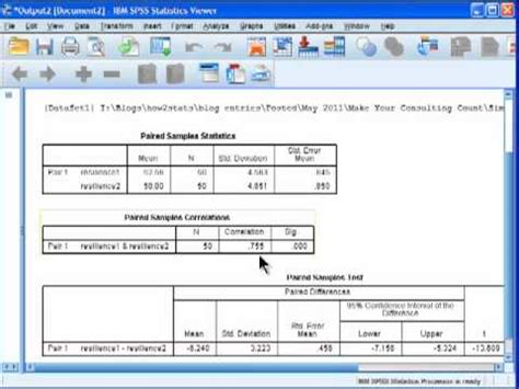 t test statistica paired sles t test spss