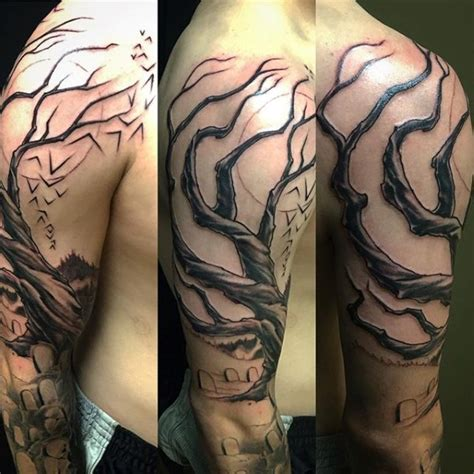 tree half sleeve tattoo 75 tree sleeve designs for ink ideas with