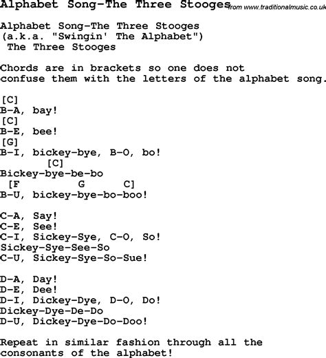 three songs summer c song alphabet song the three stooges with lyrics and chords for ukulele