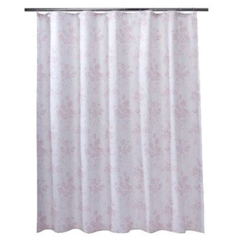 pink toile shower curtain new htf simply shabby chic vintage pink floral rose toile