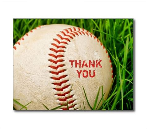 Baseball Thank You Card Template by Sports Thank You Card 20 Free Printable Psd Eps