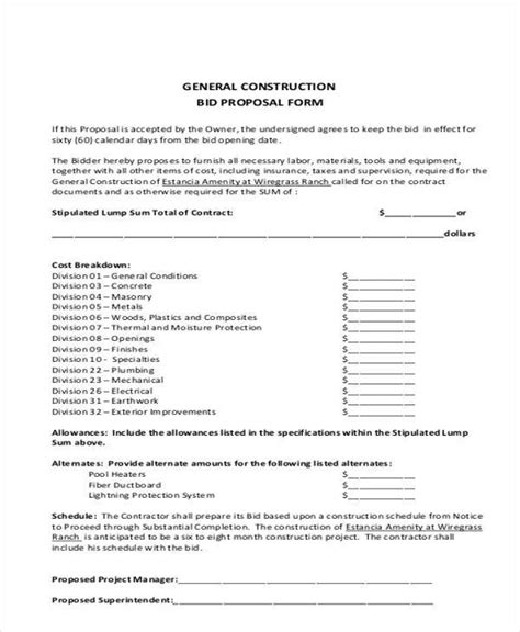 Drywall Bid Template Bid Form Bid Plainresume Co 9 Bid