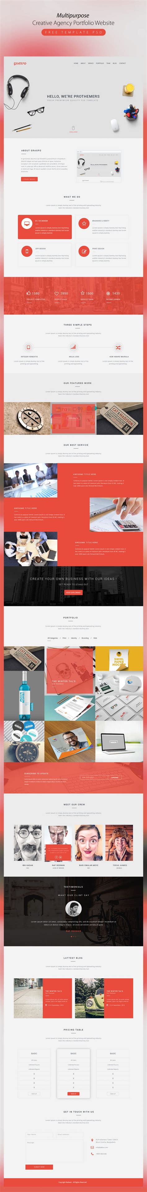 Multipurpose Creative Agency Portfolio Website Template Psd Download Download Psd Sle Portfolio Websites Templates
