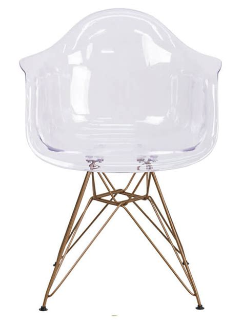 wire armchair ceremony clear gold wire armchair modern furniture brickell collection