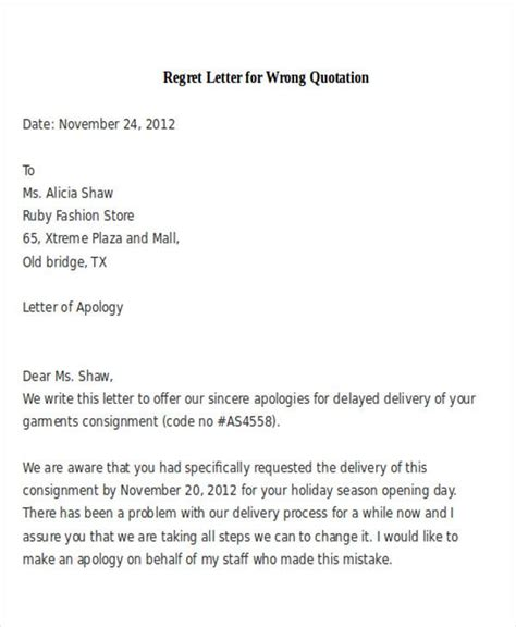 Regret Letter Writing 27 Sle Quotation Letters