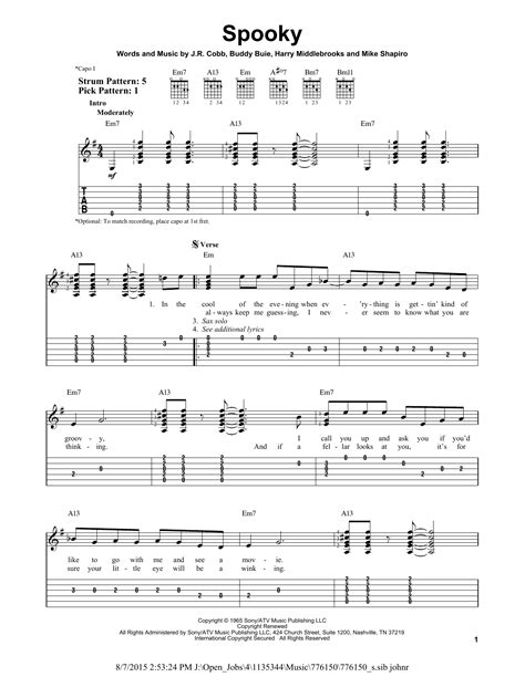 Spooky Guitar Chords