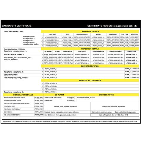 landlord gas safety certificate form  servicem