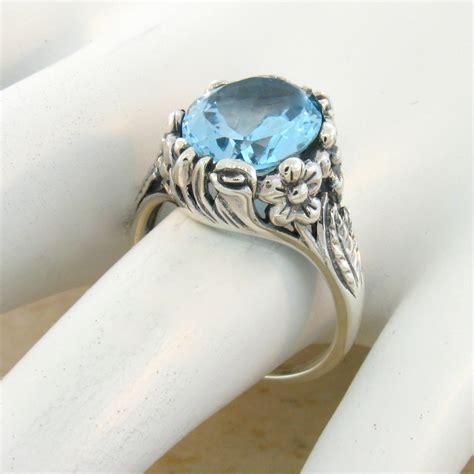 6 ct genuine sky blue topaz antique nouveau design 925