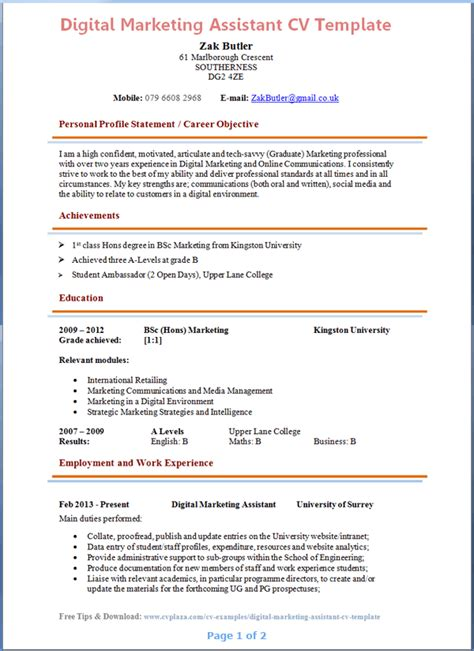 Marketing Cv Template by Search Results For Cv Exles Uk Calendar 2015