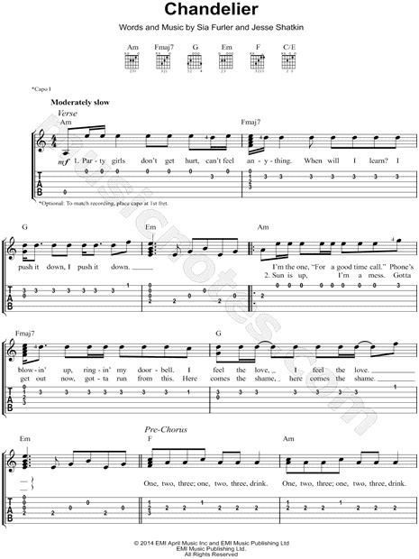 Chandelier Chords Sia Quot Chandelier Quot Guitar Tab In A Minor Print Sku Mn0146127