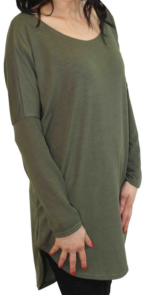 Blouse Fly Brids Knit Krem fly knit bodycon shirt hi low dip hem sleeve tunic shirt top 8 22 ebay