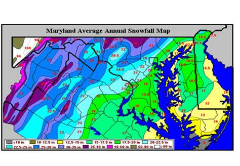 maryland map elevation topography and snowfall maps