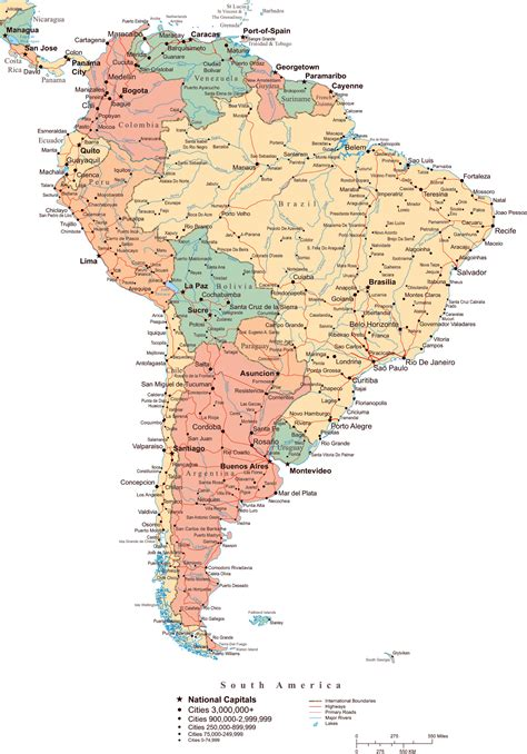 south america political map with major cities large political map of south america with roads major