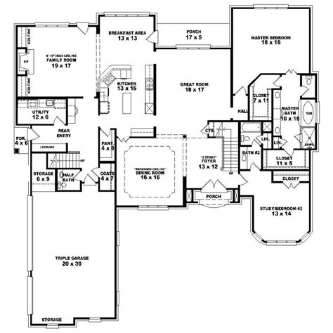 One Story 4 Bedroom House Plans 653924 1 5 Story 4 Bedroom 4 5 Bath Country Style House Plan House Plans Floor