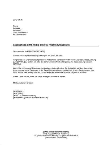 Schreiben Gehaltserhöhung Muster Arbeitgeber Bitte An Die Bank Um Fristverl 228 Ngerung Vorlagen Und Muster Biztree