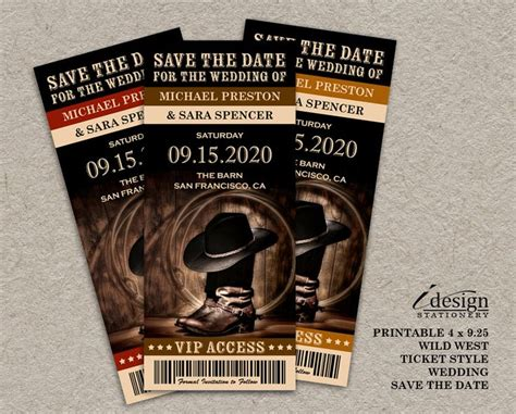 save the date ticket template country western save the date tickets printable ticket
