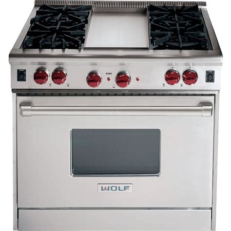 wolf gr364g wolf df364g 36 quot dual fuel range with 4 sealed burners griddle