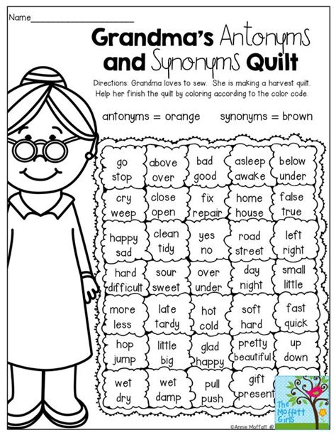 work pattern synonym a fun way to review antonyms and synonyms school