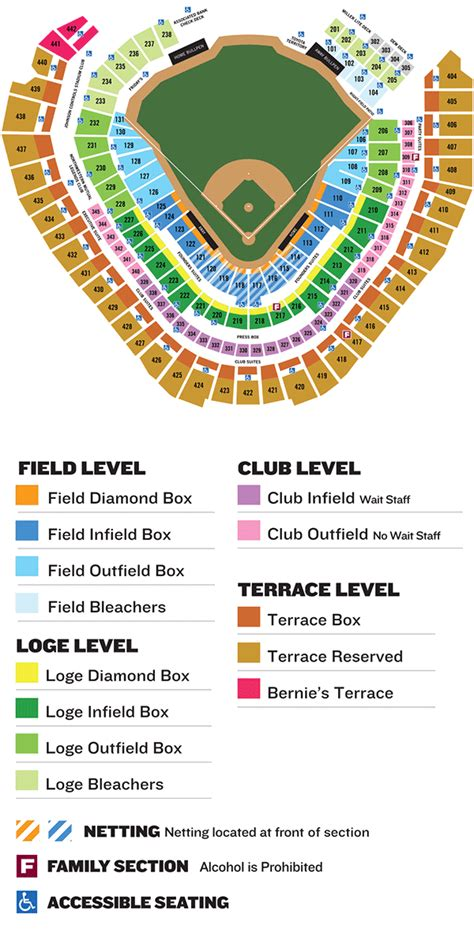 miller park seating map ada information brewers ballpark information