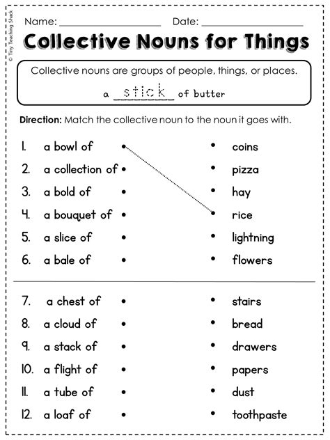 Grammar Worksheets For 2nd Grade by Free Collective Noun Worksheet With Literacy My Tpt
