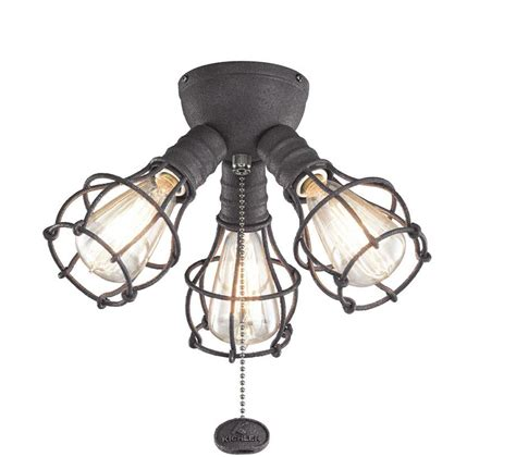 Kichler 370041dbk Vintage Distressed Black Ceiling Fan Ceiling Fan With Pendant Light