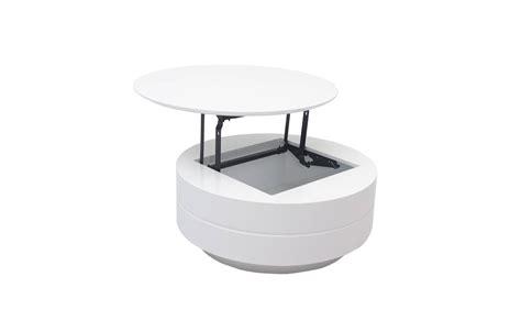 table basse grise ou blanche avec plateau relevable et