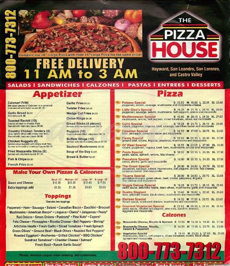 pizza house hayward the pizza house big menu hayward dineries