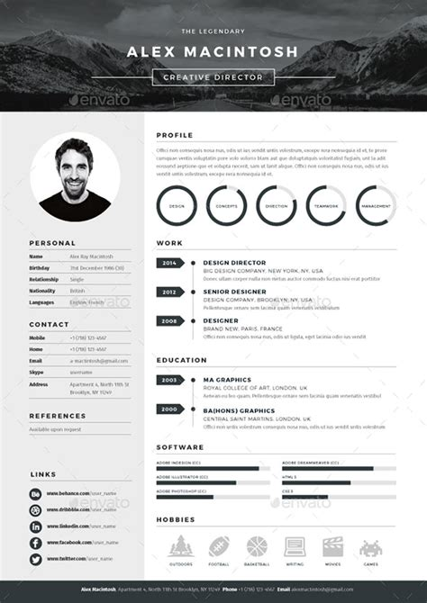business resume template photoshop 20 best resume templates web graphic design bashooka